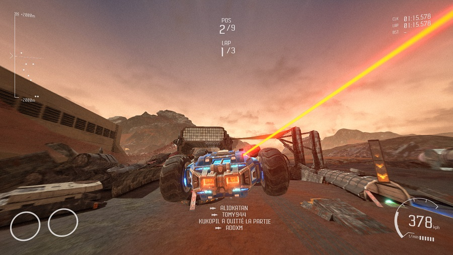 Test GRIP Combat Racing : attaque laser