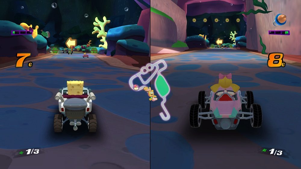 Test Nickelodeon Kart Racers : écran splitté