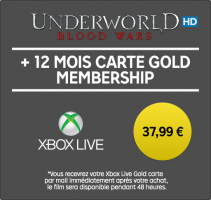 Abonnement Xbox Live de 12 mois + Location du Film Underworld Blood Wars (HD - 48h)