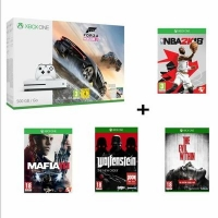 Console Xbox One S - 500Go + Forza Horizon 3 + NBA 2K18 + Mafia III + Wolfenstein + The Evil Within (via l'application)