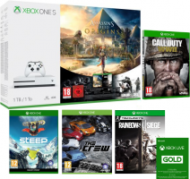 Console Xbox One S - 1To + Assassin's Creed Origins + Call of Duty WW2 + Rainbow Six Siege + Steep + The Crew + Xbox Live de 6 Mois + 1 Mois de Game Pass