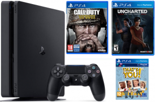 Console PS4 Slim - 500Go + Call of Duty World War II + Uncharted : The Lost Legacy + Qui es tu ?