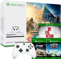 Console Xbox One S - 500 Go + Assassin's Creed: Origins + 2ème Manette + Steep + The Crew + The Evil Within