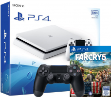 Console PS4 Slim - 500Go (Blanche) + 2ème Manette + Far Cry 5 ou Monster Hunter World