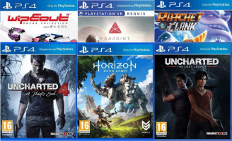 Uncharted 4 / Uncharted : The Lost Legacy / Horizon Zero Dawn / WipeOut Omega Collection / Ratchet et Clank / Farpoint VR