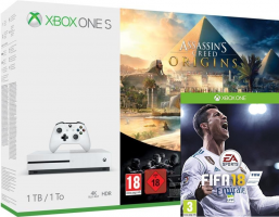 Console Xbox One S - 1To + Assassin's Creed Origins + Rainbow Six Siège + FIFA 18
