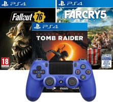 Manette DualShock 4 (V2 - Bleu / Blanc / Noir) + 1 Jeu (Shadow of the Tomb Raider / Fallout 76 / Far Cry 5)