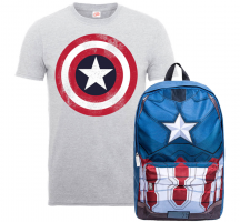 Lot Captain America : T-shirt + Sac à dos
