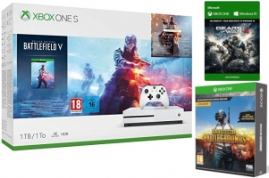 Console Xbox One S - 1To + Battlefield V - Edition Deluxe + Battlefield 1 - Edition Revolution + Battlefield 1943 + PUBG - Edition Fnac - Gears of War 4
