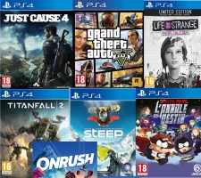 Just Cause 4 + GTA 5 + OnRush + Titanfall 2 + Steep + South Park L'annale Du Destin + Le Bâton de la Vérité (code) + Life Is Strange: Beform The Storm