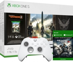 Console Xbox One S - 1To + 2ème Manette Elite (Blanche) + The Division 2 + Gears of War 4