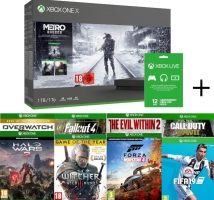 Console Xbox One X Metro Exodus + FIFA 19 + Forza Horizon 4 + Fallout 4 + The Witcher 3 + The Evil Within 2 + Call Of Duty WWII + Halo Wars 2 + Overwatch GOTY + Xbox Live 1 an