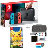 Console Nintendo Switch (Néon) + Pokemon Let's Go Pikachu ou Evoli + Pack d'Accessoires Steelplay 11 en 1