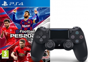 eFootball PES 2020 + Manette PS4 - DualShock 4 (Noire) + Skin Fortnite Artilleur Royal + 500 V-Bucks sur Fortnite