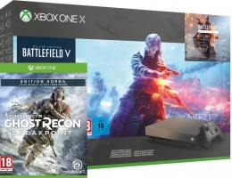 Console Xbox One X - 1To - Edition Gold Rush + Battlefield V - Edition Deluxe + Battlefield 1943 + Ghost Recon Breakpoint - Edition Aurora ou NBA 2k20