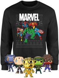 Sweat de Noël - Marvel Avengers (Homme / Femme / Enfant -Taille XS à 5XL  ) + Lot de 5 Figurines POP Marvel
