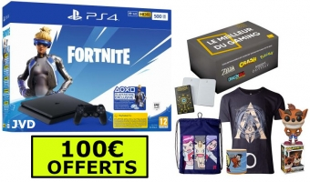 Console PS4 Slim - 500Go (Blanche ou Noire) + Box Gaming + 100 Offerts