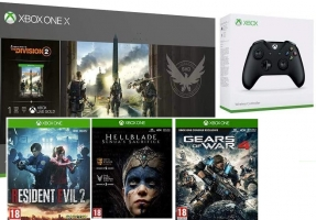 Console Xbox One X - 1To + 2ème Manette + The Division 2 + Resident Evil 2 + HellBlade + Gears of War 4