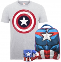T-Shirt Marvel - Captain America + Sac à Dos + Mug