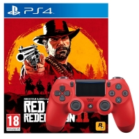 Manette DualShock 4 (Plusieurs Coloris - V2) + Red Dead Redemption 2 / Assetto Corsa Competizione / Crash Team Racing