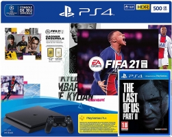 Console PS4 - 500Go + FIFA 21 + The Last of US 2