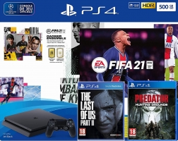 (Optimisation) Console PS4 - 500Go + FIFA 21 + The Last of US 2 + Predator : Hunting Grounds + Guide FIFA 21 + 28,98€ Offerts