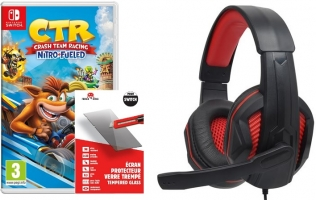 Micro-Casque Alpha Omega Players Rapace C19 + Crash Bandicoot Team Racing Nitro Fueled + Verre Trempé