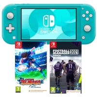 Console Nintendo Switch Lite (Turquoise ou Corail) + Captain Tsubasa + Football Manager 2021