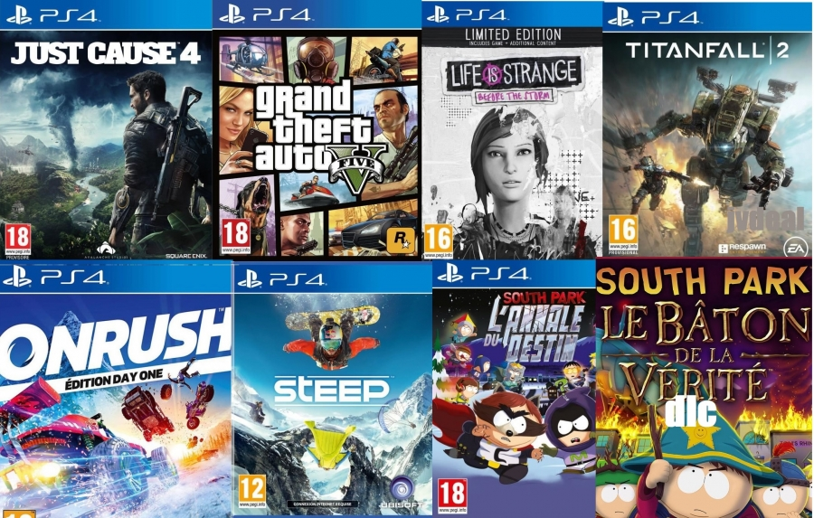 Just Cause 4 - GTA 5 - OnRush - Titanfall 2 - Steep - South Park L'annale Du Destin - Le Bâton de la Vérité (code) - Life Is Strange: Beform The Storm