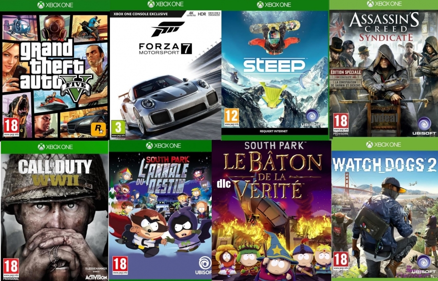 - GTA 5 - Forza 7 - Call Of Duty WW2  - Watch Dogs 2 - Edition Deluxe - Assassin's Creed Syndicate + Steep - South Park L'annale Du Destin - Le Baton De La Vérité (code) sur Xbox One